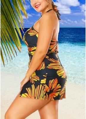Modern Women Plus Size Swimwear Dress Halter Swimsuit Backless Push Up Bathing Suit_4