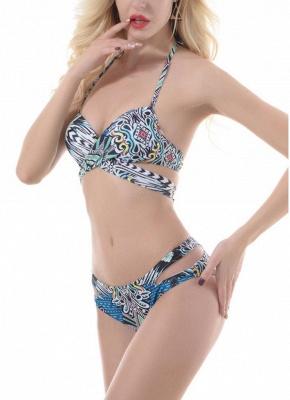 Hot Womens Push Up Bathing Suit Tribal Print Bandage Halter Beach Bathing Bikini Set_3