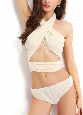 Hot Summer Hot Halter Criss Cross Bodycon Strappy Bikini Set UK_5