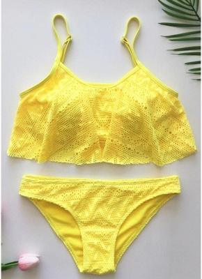 Women Ruffled Bikini Set UK Hollow Out Adjustable Strap Padding Low Waist_7