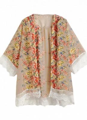 Retro Floral Lace Hem Bohemian Chiffon Kimono_5