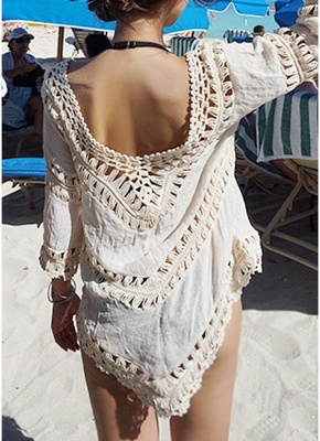 Women Beach Cover Ups Hollow Out Crocheted Lace Plunge V-neck Asymmetrical Hem_5