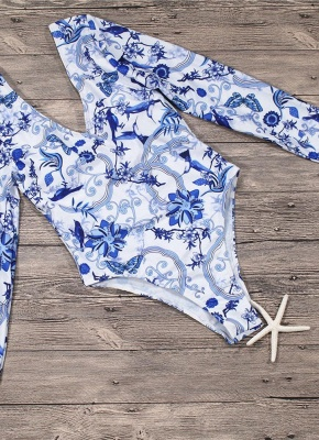 Hot Women Retro Porcelain Floral One Piece Bathing Suit UK_4