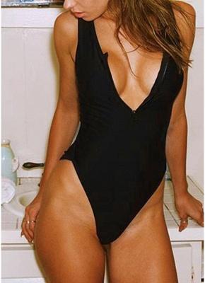 Sexy Open Back Sleeveless Zipper Padding Wireless One-Piece Bathing Suit_3