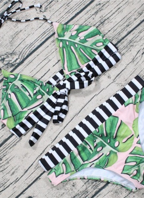 Leaf Striped Halter Tie Back Padded Bikini Set_4