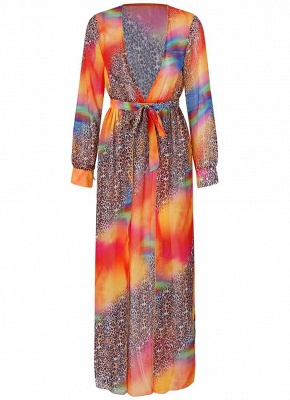 Chiffon Leopard Contrast Color Split Cardigan Kimono Beach Maxi Coverups_3