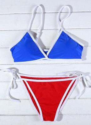 Contrast Color Block Bandage Tie-Thongs Bikini Set_4
