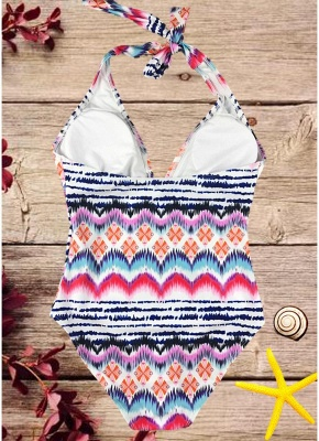 Womens One-piece Swimsuit Colorful Striped Halter Monokini Bathing Suit Swimsuit_4