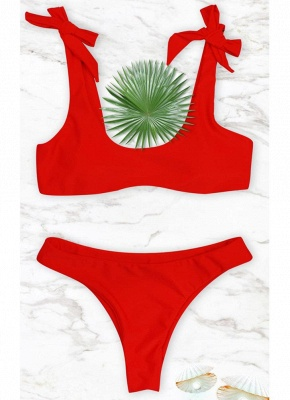 Womens Bikini Set Tied Bow Padded Wireless Low Waist Solid Tank top_3