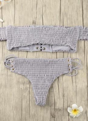 Hot Women Smocked Off the Shoulder Lace Up Bikini Set UK_2