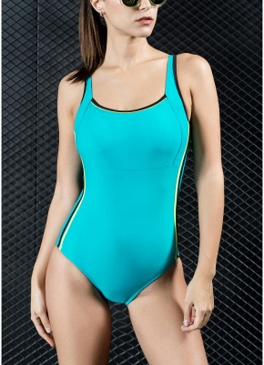Womens Sports One Piece Swimsuit Bathing Suit Sexy Open Back Splice Racing Training Swimsuit_1