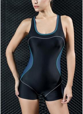 Women Sports One Piece Bathing Suit UK Swimsuits UK Shorts Splice Racing Training Bathing Suit UK_2