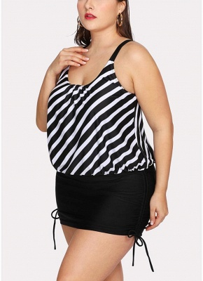 Women Striped Swim Dress Tie Side_4