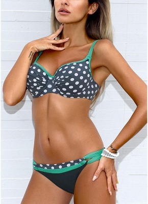Women Low Waisted Polka dots Print Underwire Tank Top Bikini Set UK_3
