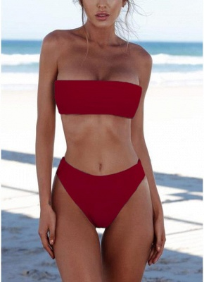 Womens High Waist Bikini Set Push Up Swimsuit Bathing Suit Solid Swimsuit_3