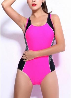 Women One-piece Bathing Suit UK Contrast Color Block Sporty Monokini Swimsuits UK Bathing Suit UK_1