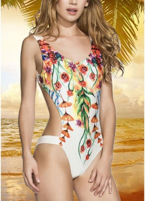 Printed V Neck Sexy Open Back Padded Monokini_1