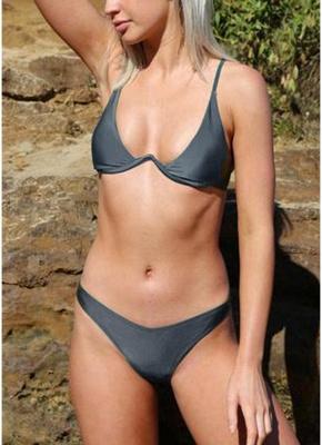 Hot Women Bikini Set UK Solid Underwire Push-Up Top Bottom Swimsuits UK Bathing Suit UK Bathing Suit UK_2