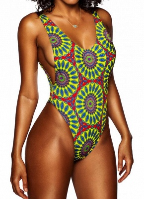 Modern Women One-Piece Swimsuit Swimwear African Totems Print Monokini Push Up Padded Bikini Bathing Suit Beachwear_3
