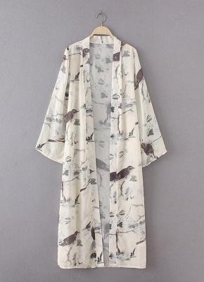 Floral Bird Print Sexy Open Front Women's Long Thin Kimono_5