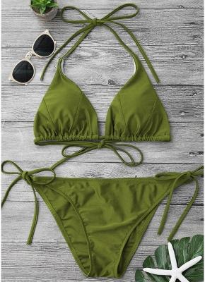 Solid Color Halter Bodycon Tie Bikini Set UK_4