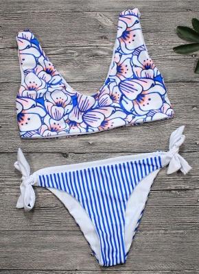 Off the Shoulder V Neck Printed Bathing Bikini Set_3