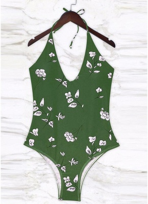 Womens Floral One Piece Halter Swimsuit Bathing Swimwear Bathing Suit_1