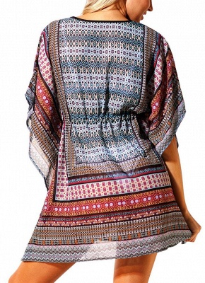 Women Beach Cover Up Dress Bohemian Geometric Print V-Neck Loose Swimsuits UK_4