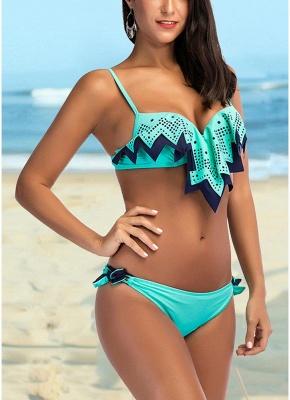 Womens Bikini Tank top Set Ruffle Overlay Self Tie Padded Push Up Swimsuit_1