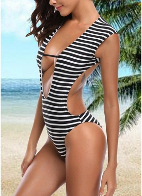 Womens One-piece Swimsuit Striped Cutout Back Bathing Suit Swimsuit_4
