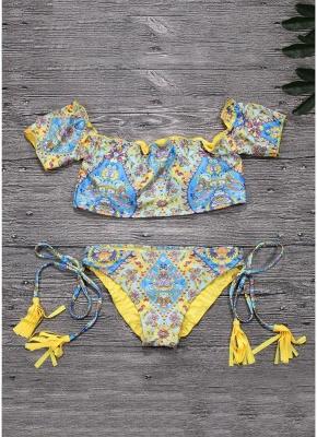 Geometric Print Off the Shoulder Short Sleeves Wireless Bathing Suit UK_5