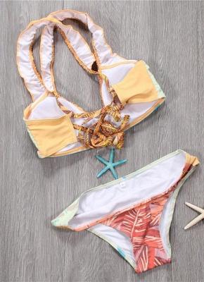 Hot Womens Bikini Set Spaghetti Strap Contrast Color Bandage Cross Lacing Padded Wireless Swimsuits Yellow_3