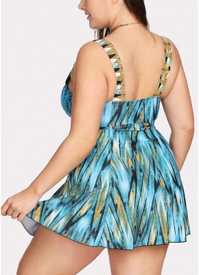 Modern Women Plus Size One Piece Swimsuit Swimdress High Waist V Neck Print_3