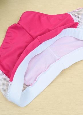 Hot Color Block Halter Padded Tank Top Rose Bikini Set UK_7