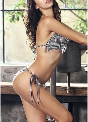 Womens Bathing Suit Striped Halter Bandage Sexy Open Back Tassel Swimsuit Beach Wear Bikini Set_4