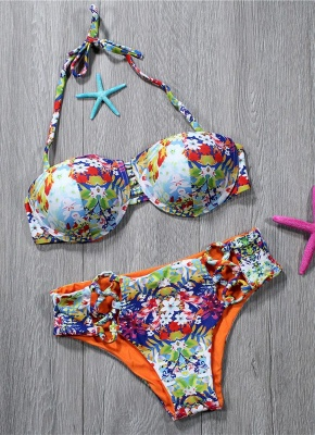 Womens Tank top Bikini Set Colorful Printed Halter Padded Bandage Hollow Out Low Waist Hot Swimsuit_1