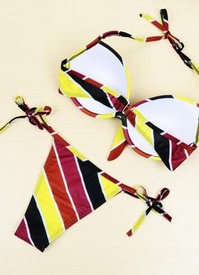Contrast Stripe Underwire Padded Cup Tie Bikini Set UK Bathing Suit UK_12