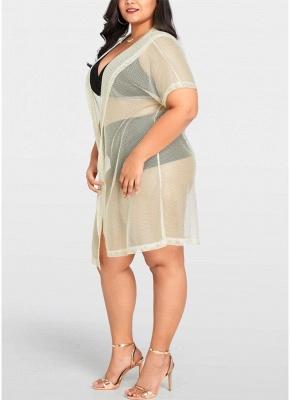 Modern Women Bikini Cover Up Fishnet Hooded Cardigan Plus Size Outerwear Beachwear_4