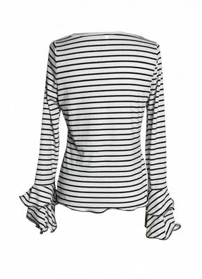 Modern Women Stripe T-shirt Flare Sleeve Round Neck Layer Tops Blouse_4