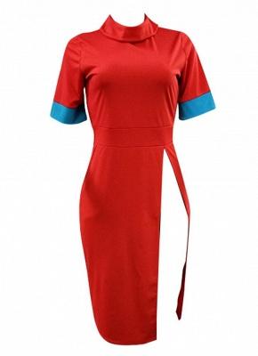 Solid Color Split Long T-Shirt Splice Detail Turn-Down Collar Short Sleeve Long Tee_4