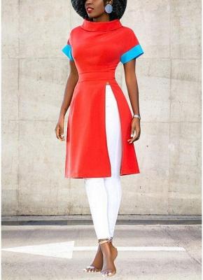 Solid Color Split Long T-Shirt Splice Detail Turn-Down Collar Short Sleeve Long Tee_1