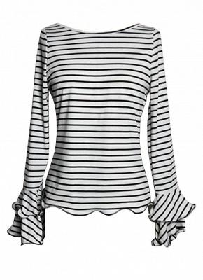 Modern Women Stripe T-shirt Flare Sleeve Round Neck Layer Tops Blouse_3