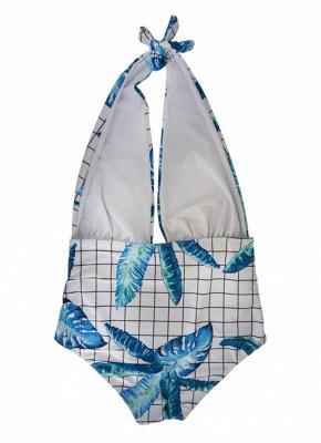 Plus Size Plaid Leaves Print Deep V Swimsuit Set_5