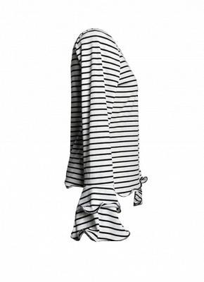 Modern Women Stripe T-shirt Flare Sleeve Round Neck Layer Tops Blouse_5