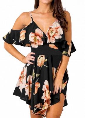 Summer Cold Shoulder Flower Print Irregular V Neck Women's Dress_1
