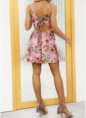 Modern Women Floral Tassels Mini Dress Tie Back Backless Party Beach Dress_9