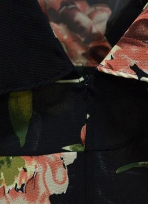 Summer Cold Shoulder Flower Print Irregular V Neck Women's Dress_8