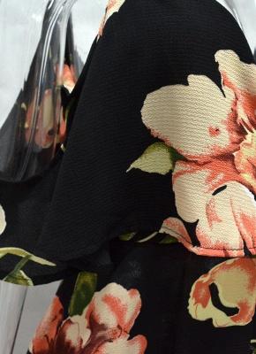 Summer Cold Shoulder Flower Print Irregular V Neck Women's Dress_6