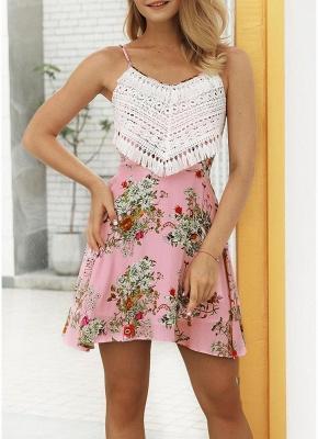 Modern Women Floral Tassels Mini Dress Tie Back Backless Party Beach Dress_5