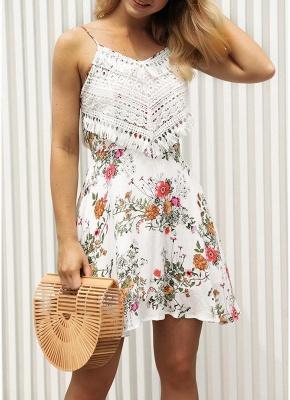 Modern Women Floral Tassels Mini Dress Tie Back Backless Party Beach Dress_1